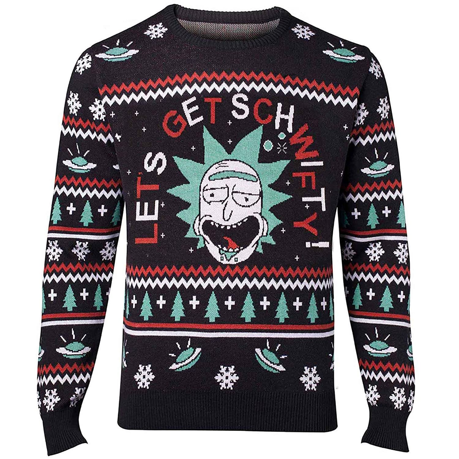 Rick and Morty Christmas Jumper Get Schwifty Christmas Official Mens