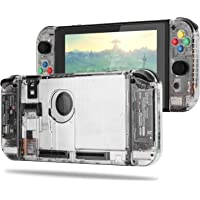 BASSTOP DIY Replacement Housing Shell Case Set for Switch NS NX Console and Right Left Switch Joy-con Controller Without Electronics (Clear Set)