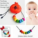 BABY SILICONE TEETHING NECKLACE for Mom to Wear with Storage Case for Perfect Hygiene - Best Baby Shower Gift for Baby Boys & Baby Girls - 100% ORGANIC FOOD SAFE SILICONE - BPA Free - Dishwasher Safe