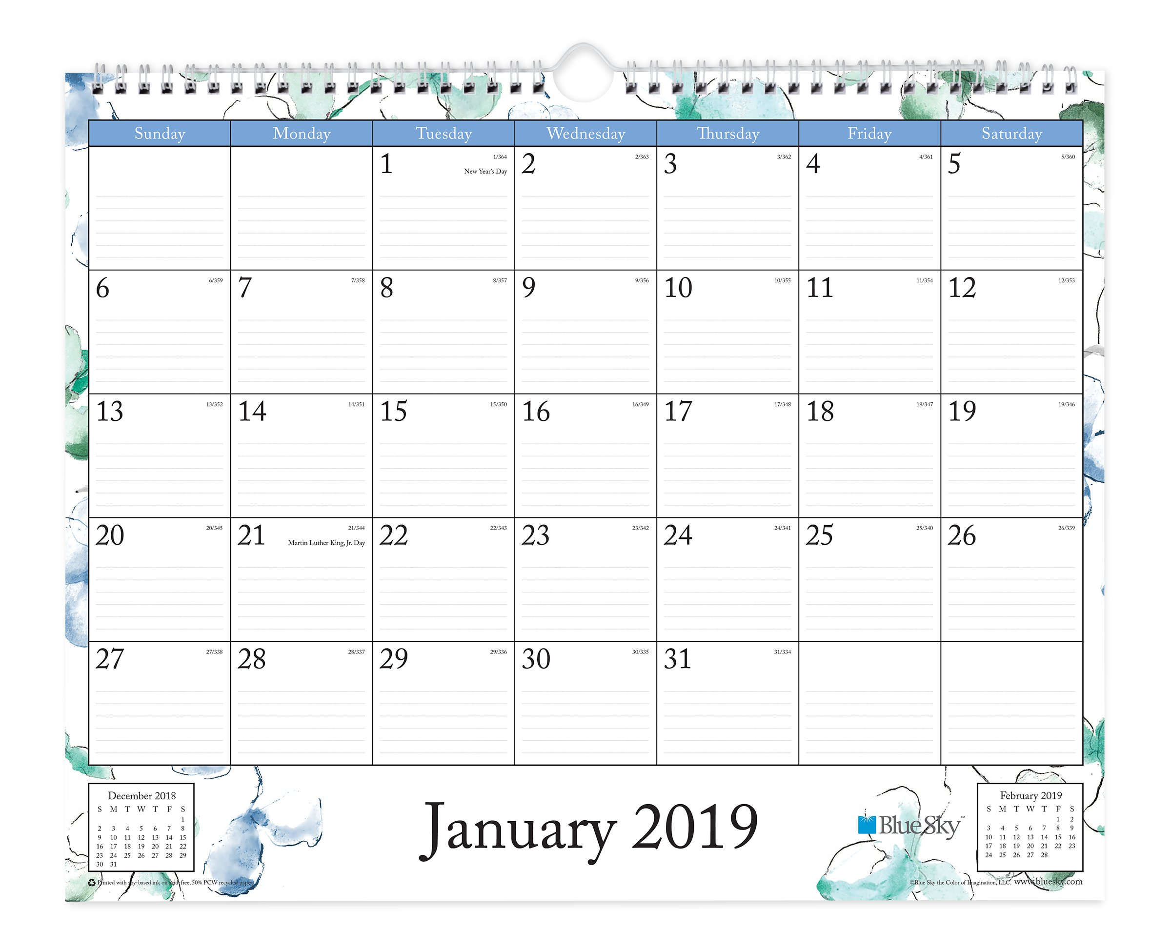 Blue Sky 2019 Monthly Wall Calendar, Twin-Wire Binding, Ruled Blocks, 15'' x 12'', Lindley
