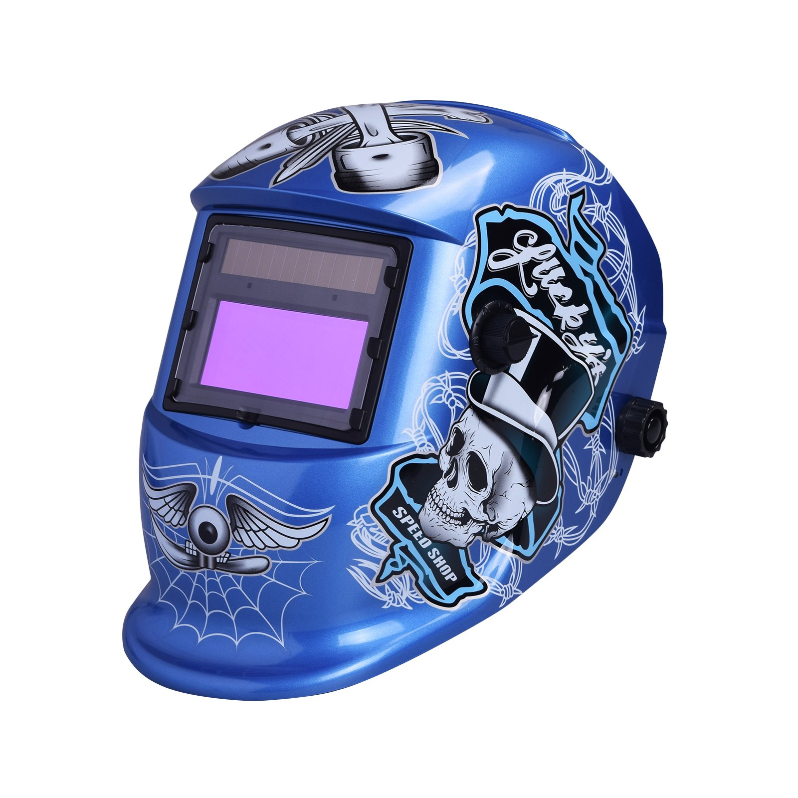 Nuzamas Solar Powered Auto Darkening Welding Helmet Mask Weld Face Protection for Arc Tig Mig Grinding Plasma Cutting with Adjustable Shade Range DIN4/9-13 UV/IV protection DIN16 Skull Pattern Blue