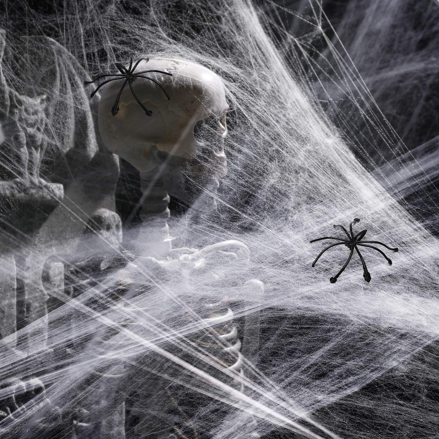 Halloween Decorations Outdoor with 6.6 Ft Giant Spider Scary Hairy Spider 20 Black Plastic Spiders Props for Outside Indoor House Yard Halloween Decor Party Favor 3 Pack 400sqft Fake Spider Web
