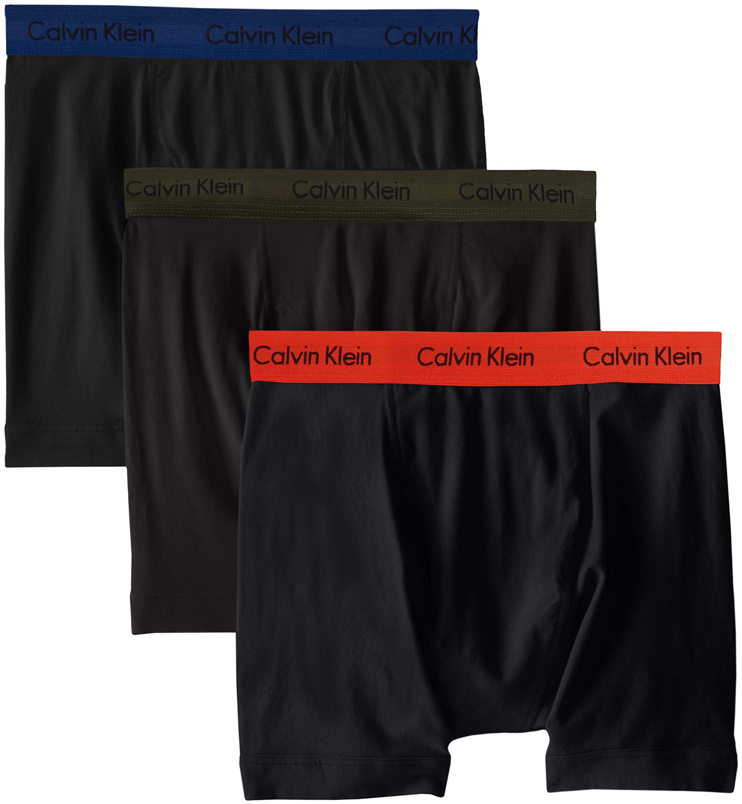 Calvin Klein Men's Cotton Stretch 3 Pack Boxer Briefs, Black/Forest Dark Night/Spicy Orange, M
