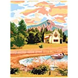 Maomaomi Paint by Numbers for Kids & Adults & Beginner - 12 × 16 inch DIY Canvas Painting Gift Kits - Pastoral Twilight(Witho