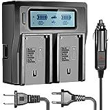 Neewer Cargador de Pantalla LCD con 3 Enchufes(Enchufe de E.E.U.U,Enchufe de UE,Adaptador de Coche) para Baterías NP-F550/F570/F750/F770/F930/F950/F960/F970,NP-FM50/FM500H/QM71/QM91/QM71D/QM91D