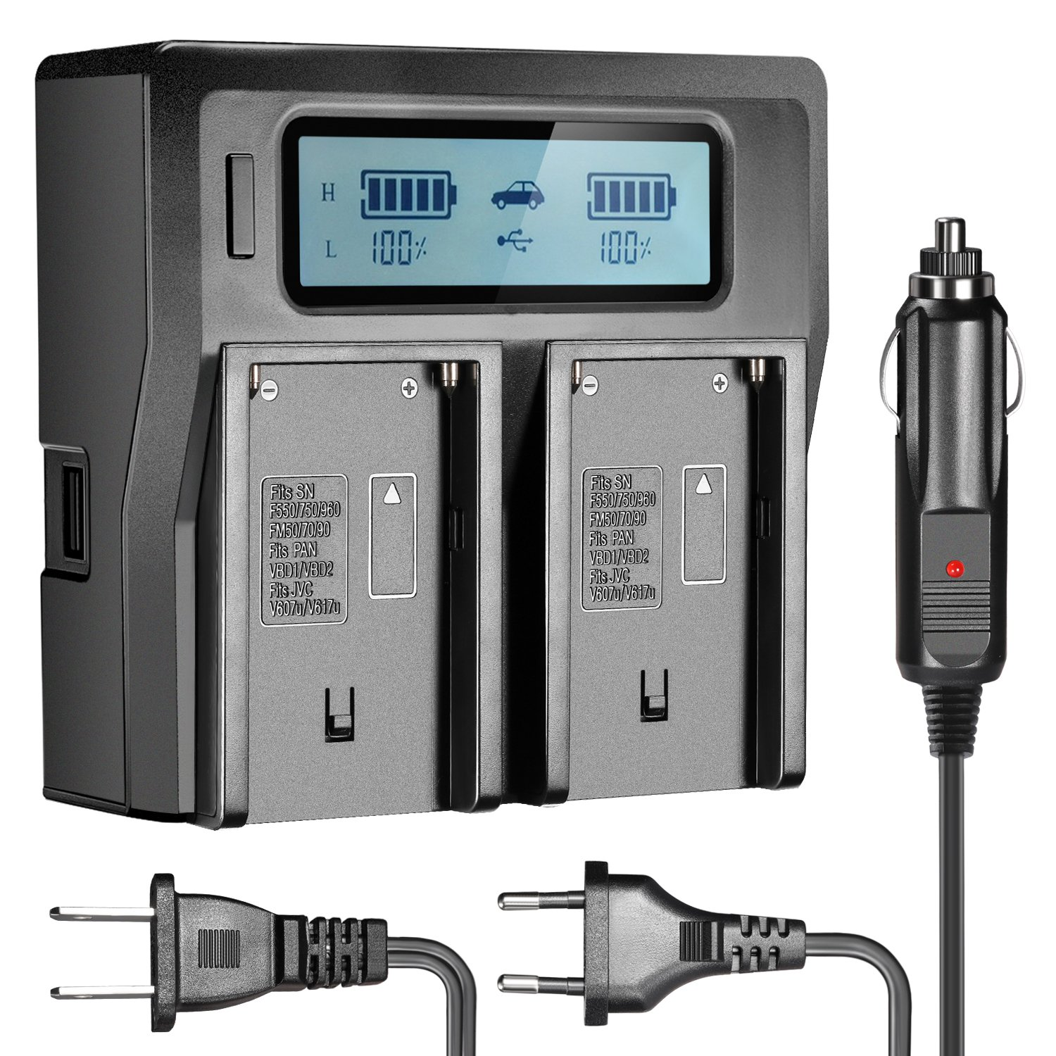 Neewer Dual-Channel LCD Display Battery Charger with 3 Plug(US Plug,EU Plug,Car Adapter) for Sony NP-F550/F570/F750/F770/F930/F950/F960/F970, NP-FM50/FM500H/QM71/QM91/QM71D/QM91D Camcorder Batteries by Neewer