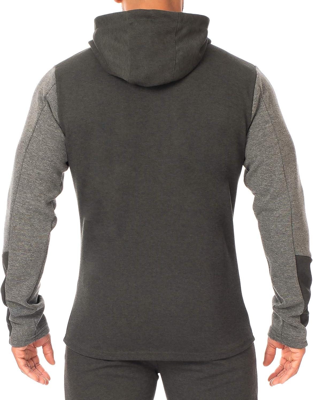 SMILODOX Kapuzenpullover Herren 'Instinct' | Zip Hoodie für Sport Fitness Training | Trainingsjacke - Sportpullover - Sweatjacke - mit Reißverschluss Olive