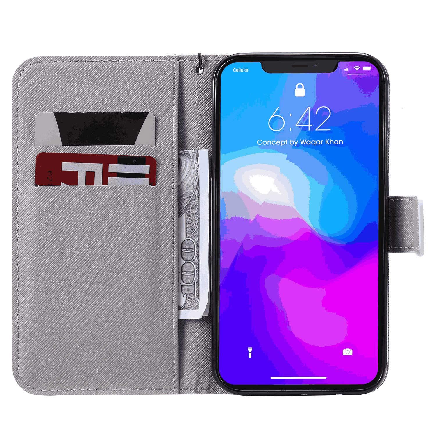 with Extra Waterproof Case Pouch Leather Case Compatible with iPhone 7 Plus Wallet Cover for iPhone 7 Plus Business Gifts