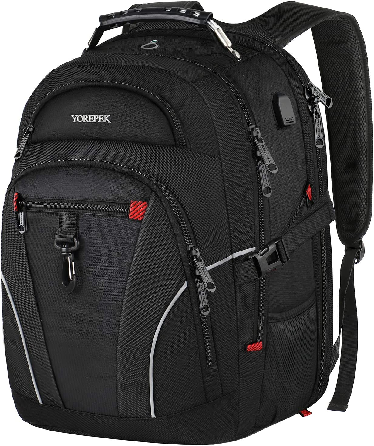 Backpack for Men Travel,Large Laptop Backpack with USB Charging Port, TSA Friendly Water Resistant College School Computer Bag Gifts for Women and Men Fits 17 Inch Notebook, Black
