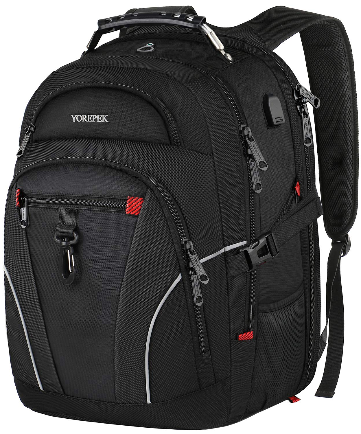 Travel Laptop Backpack,Large Capacity Backpack with USB Charging Port for Men Women,TSA Friendly Water Resistant College School Bookbag Computer Bag with Luggage Sleeve Fit 17inch Laptop,Black by YOREPEK