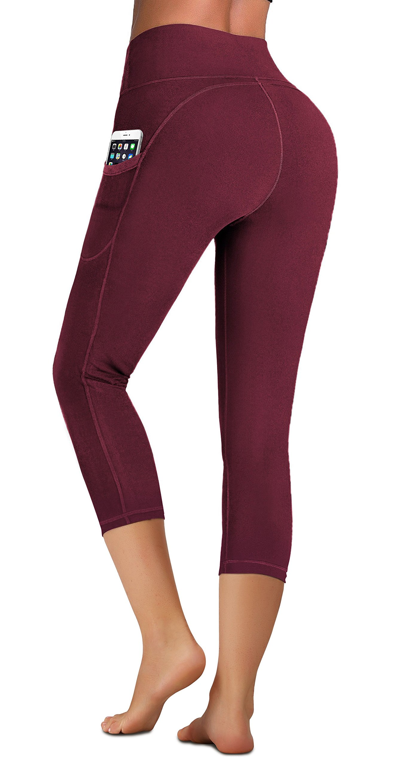 IUGA High Waist Yoga Pants with Pockets, Tummy Control, Workout Pants for Women 4 Way Stretch Yoga Leggings with Pockets (Capri 7881 Maroon, X-Large) by IUGA