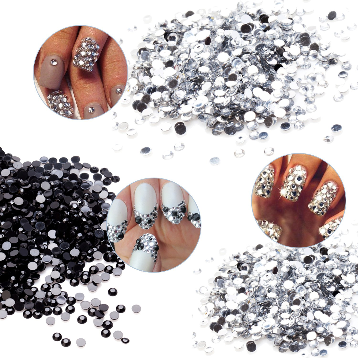 High Quality Professional Manicure Nail Art Decorations Set Kit of Different 3mm and 4mm Flat Back Gems Rhinestones Crystals Gemstones Jewels By VAGA®