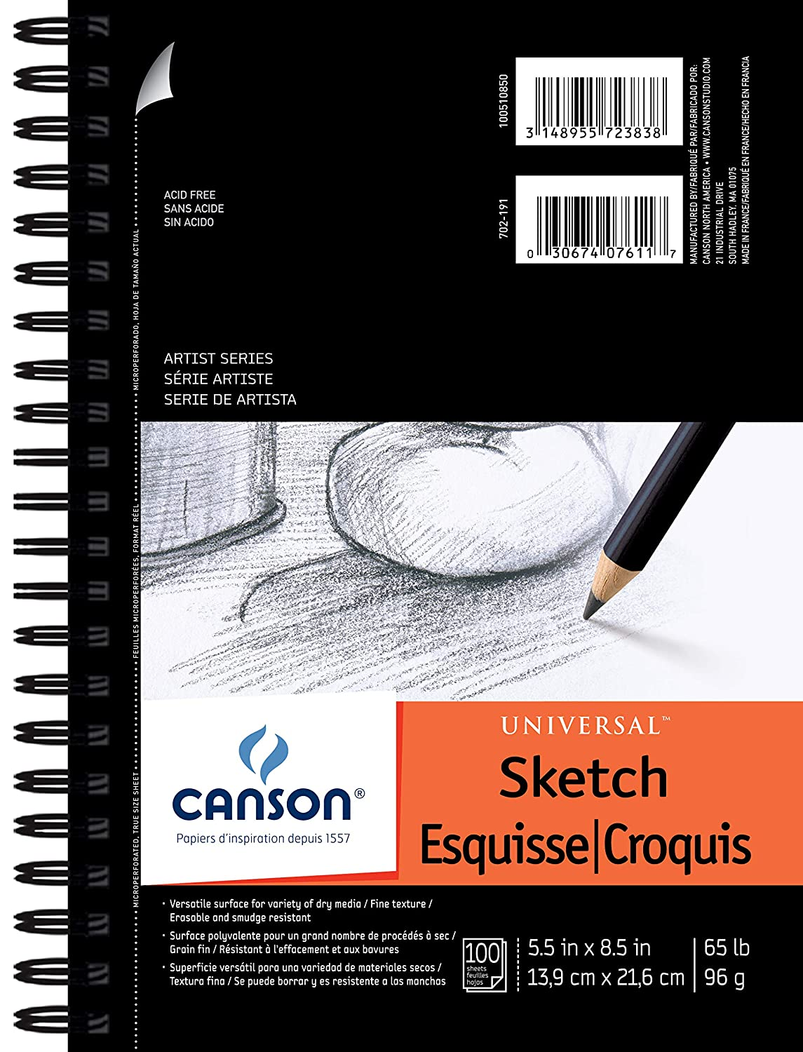 Pro-Art 5-Inch by 8-Inch Canson Universal Sketch Pad, 100-Sheet 100510850