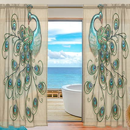 INGBAGS Bedroom Decor Living Room Decorations Peacock Pattern Print Tulle  Polyester Door Window Gauze / Sheer
