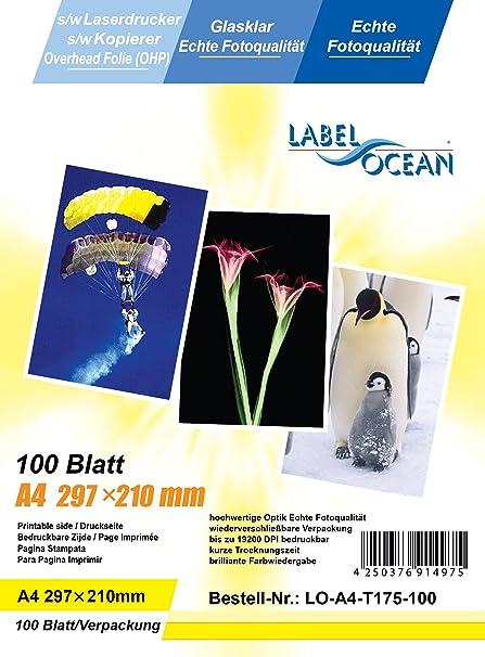 100 hojas A4 (papel transparente OHP) para impresoras y ...