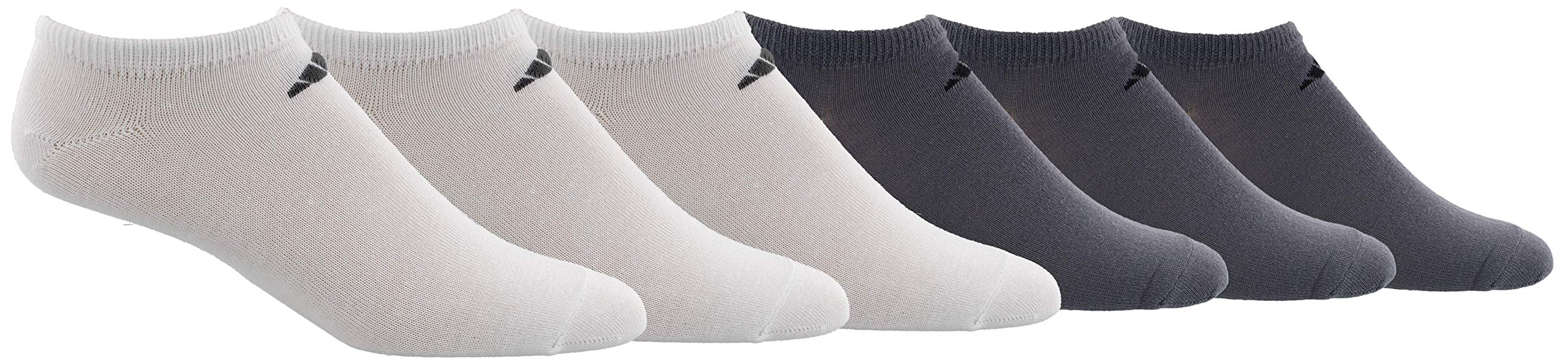 adidas Men's Superlite Low Cut Socks with arch compression (6-Pair),White/ Black Onix/ Black,Large, (Shoe Size 6-12) by adidas