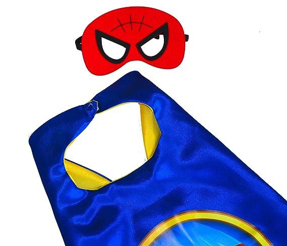 Superman Red + Iron Man + Captain America + SPIDER mano Cape y máscara (Juego 4 Unidades) + 4 pegatinas. Kim y máscara - Super Héroes de disfraces para ...