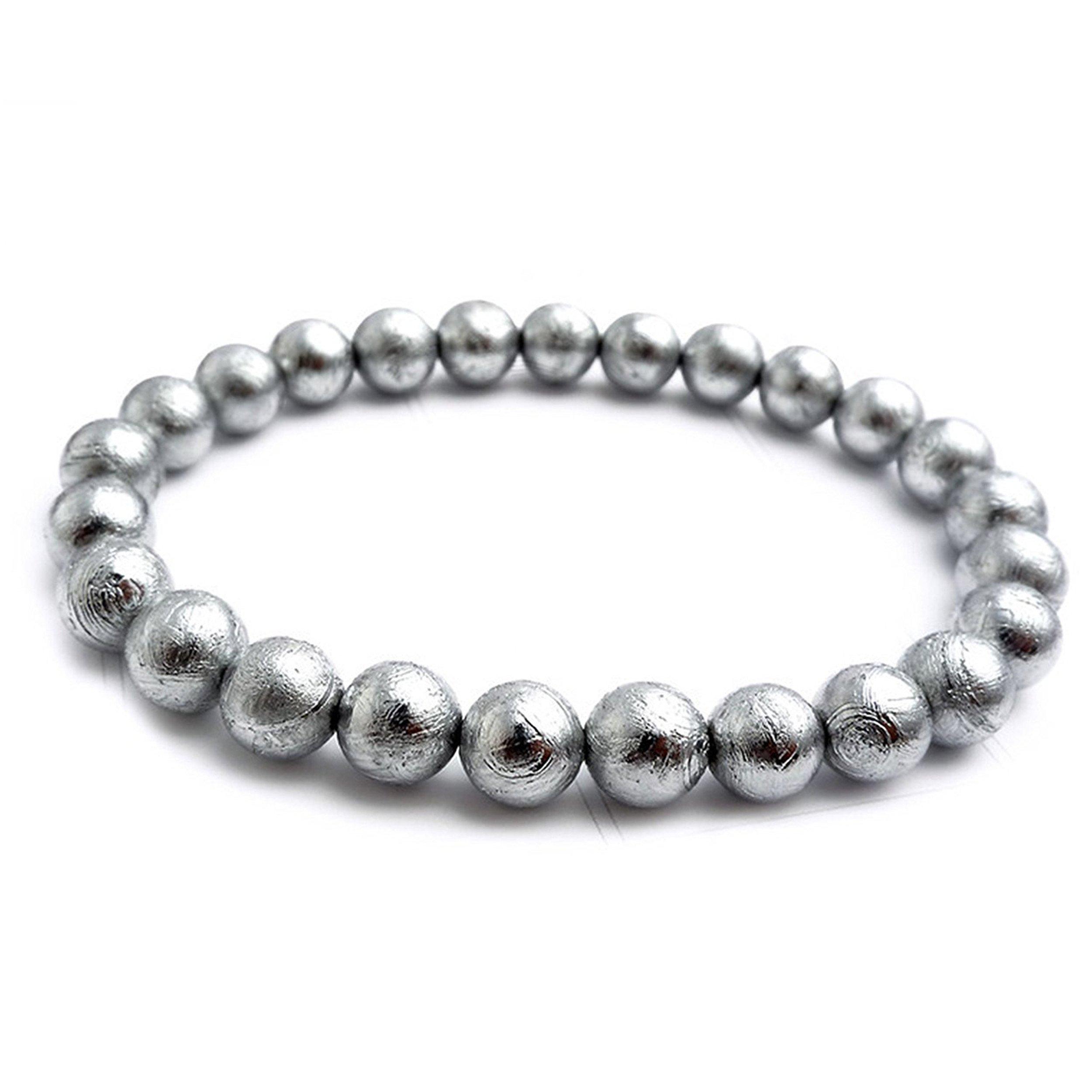 LiZiFang Natural Gibeon Iron Meteorite Round Bead Woman Mens Bracelet 6mm