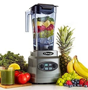 Omega OM7560S 3HP Blender with 64 OZ BPA Free Container Creates Delicious Smoothies Features Stainless Steel Blades & 11-Speeds Includes Plunger & Recipe Book, 1400W, Silver