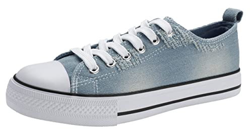 0ccaea76d6cd5 PepStep Canvas Sneakers for Women/Light Blue/Navy/Black Casual Shoes Low  Top Lace up Fashion Sneakers