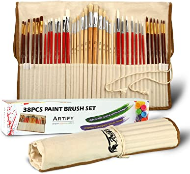 Artify 38 Pcs Paint Brushes Art Set For Acrylic Oil Watercolor Gouache A Kit Of Hog Pony And Nylon Hairs Including Two Large Size Nylon Brushes And