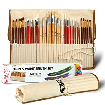 Artify 38 Pcs Paint Brushes Art Set for Acrylic Oil Watercolor Gouache| a Kit of Hog Pony and Nylon Hairs |Including Two Large Size Nylon Brushes and ...