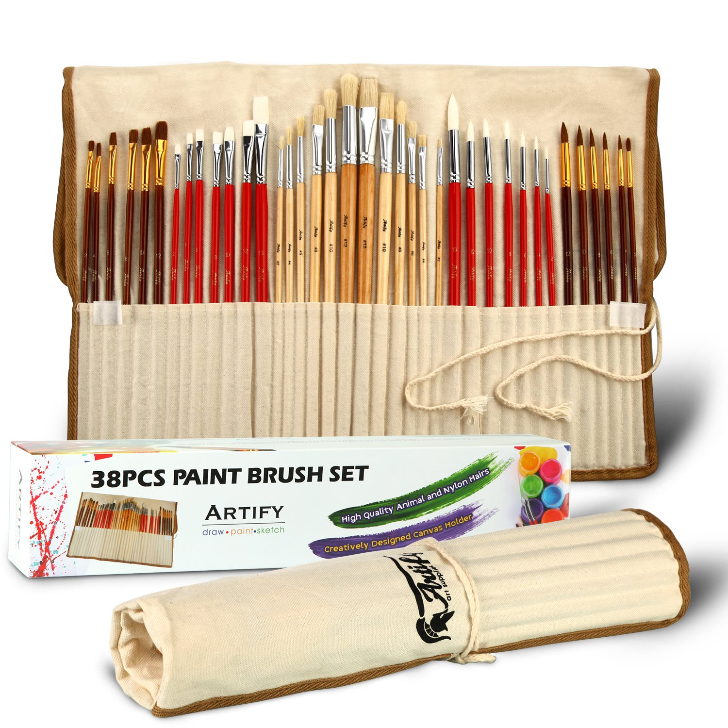 Artify 38 Pcs Paint Brushes Art Set for Acrylic Oil Watercolor Gouache  a Kit of Hog Pony and Nylon Hairs  Including Two Large Size Nylon Brushes and a Carrying Pouch