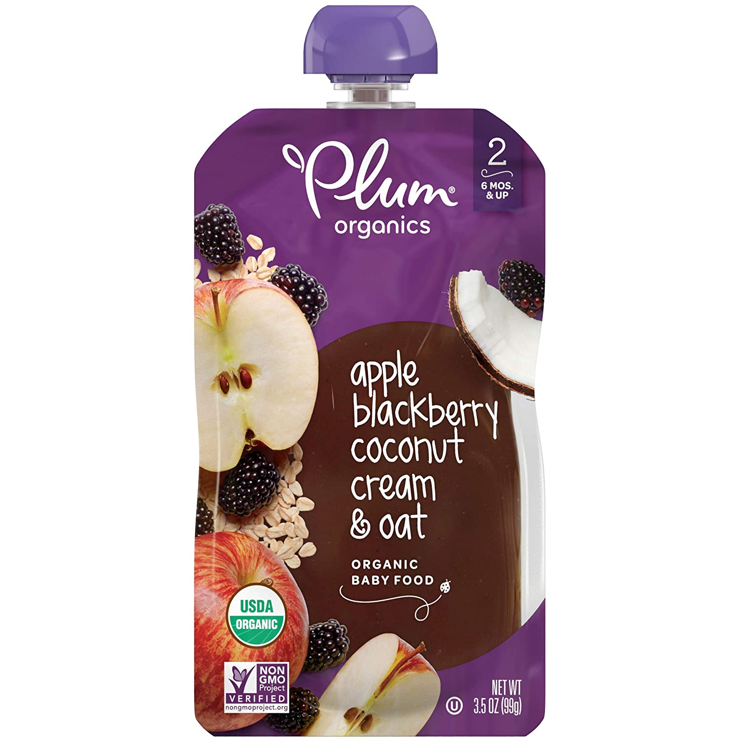 Plum Organics Stage 2, Organic Baby Food, Apple, Blackberry, Coconut Cream & Oat, 3.5 Ounce Pouch (Pack of 12) (Packaging May Vary)