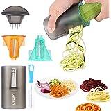 Spiralschneider Hand für Gemüsespaghetti mit 2 Klingen, Gimars Gemüsehobel für Karotte, Gurke, Möhren, Zucchini in Spaghetti, Nudeln, Julienne - Reinigungsbürste inklusive