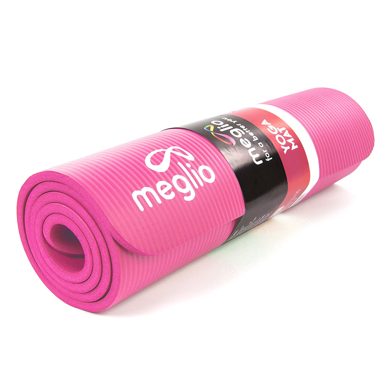Meglio Esterilla de Yoga Antideslizante – En NBR de 10mm de Grosor. para Yoga, Fitness, Pilates, rutinas de Ejercicios Diferentes – Cinta para ...