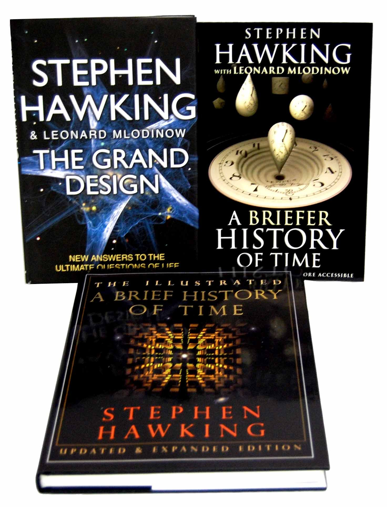 the grand design stephen hawking 3 books collection set 2 hardback 1 paperback book the grand design hardcover a briefer history of time paperback a brief history of time illustrated hardcover