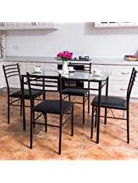 Tangkula 5 PCS Dining Set W/ Glass Top Table And 4 Chairs Set Home Dinette Part 58