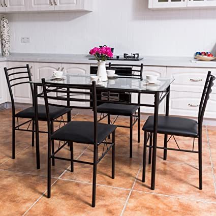 Tangkula Dining Table Set 5 Piece Home Kitchen Dining Room Tempered Glass Top Table and Chairs & Amazon.com: Tangkula Dining Table Set 5 Piece Home Kitchen Dining ...