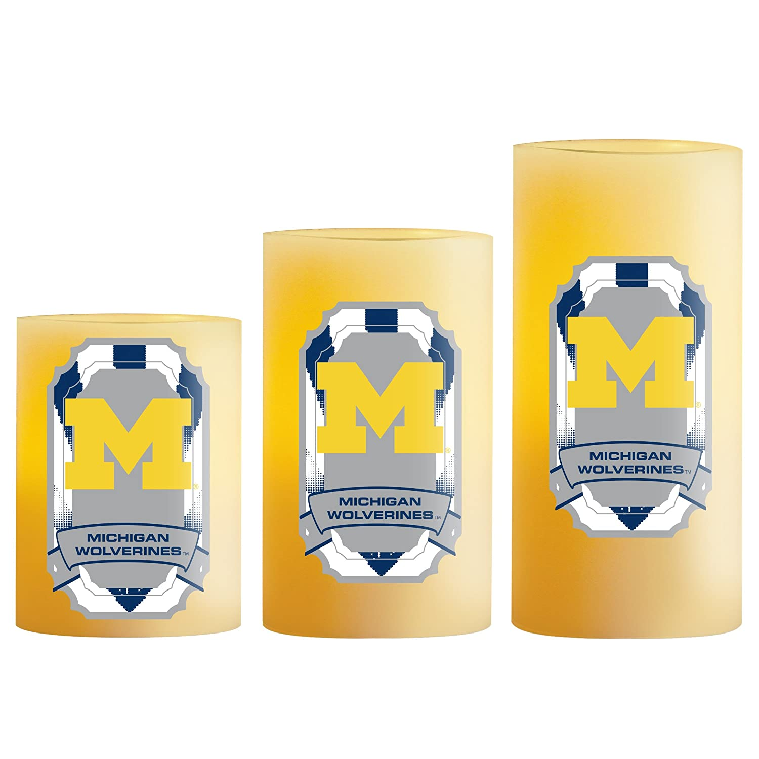 3 piece NCAA Michigan Wolverines LED Light Candle Gift Set
