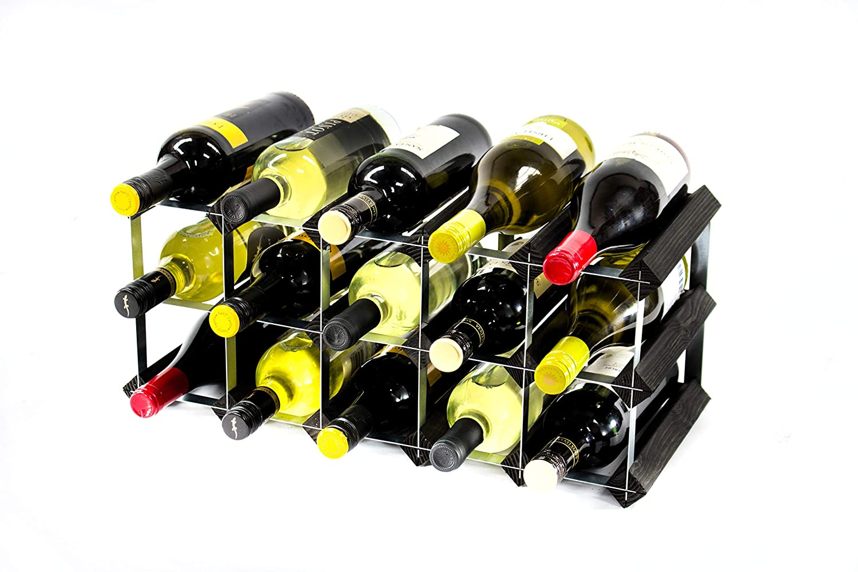 gi/à montata. Cranville wine racks Classica cantinetta per 15 Bottiglie di Vino Realizzata in Robusto Legno di Pino Scuro e Acciaio galvanizzato