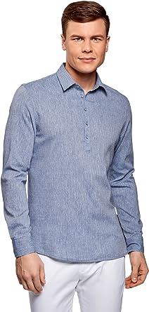 oodji Ultra Hombre Camisa Ancha con Dibujo Pequeño: Amazon.es: Ropa y accesorios