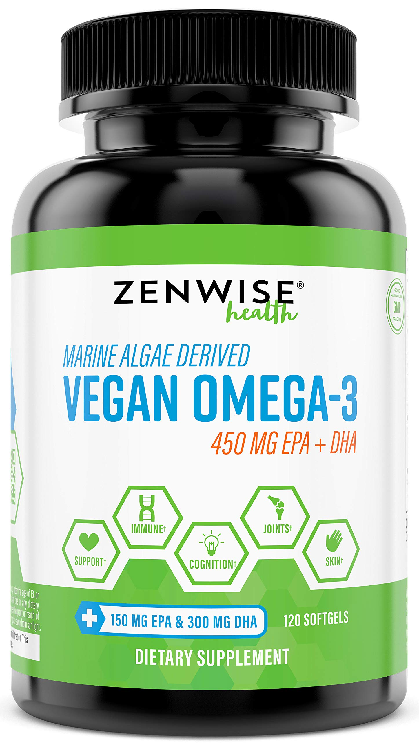 Vegan Omega 3 Supplement - Marine Algal Source of EPA & DHA Fatty Acids - For Joint Support & Immune System - Heart & Skin + Brain Health Booster - Fish Oil Free Formula for Men & Women - 120 Softgels by Zenwise Health