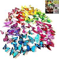 iwobi 72 Stuks Kleurrijke 3D Vlinder Muursticker DIY-Art Decor Handwerk Vlinder voor Woondecoratie Kamer Slaapkamer…