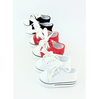 American Fashion World 3 Pair Low Top Sneakers White, Black, & Red fits 18 Inch Doll: Toys & Games