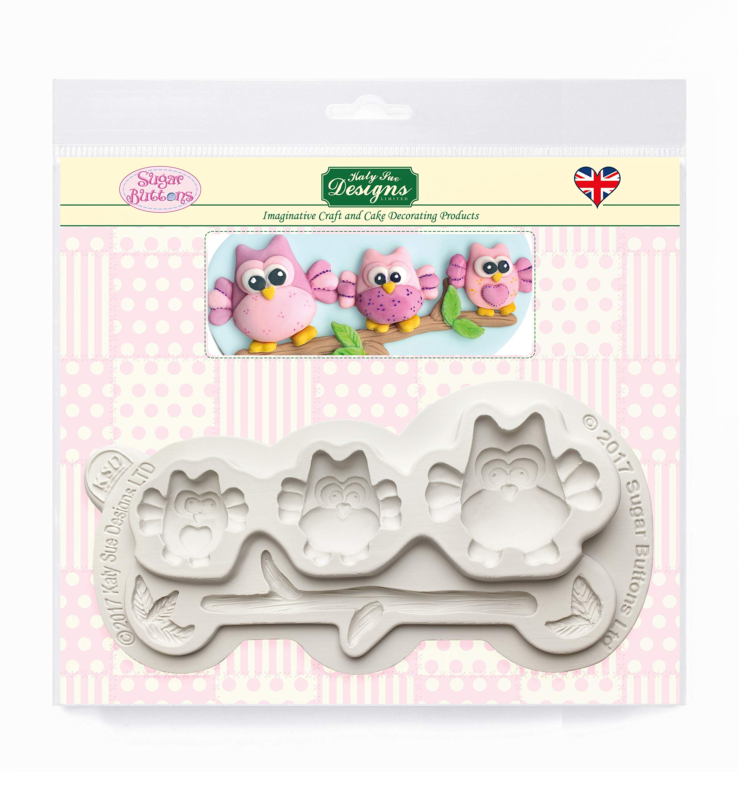 Sugar Buttons Owls Silicone Mold for Clay, Ceramics, Cake Decorating, Cupcakes, Crafts, Cards and Candies, Food Safe