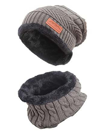 2e71985f0152 MissShorthair Men Beanie Hat Scarf Set Slouch Warm Knit Hat Neck Warmer for  Winter at Amazon Men's Clothing store: