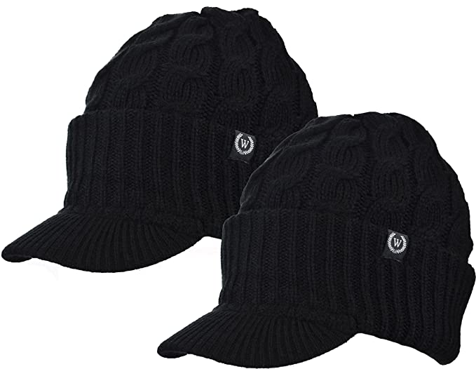 Amazon.com  Newsboy Cable Knitted Hat with Visor Bill Winter Warm ... 64106a8ab46