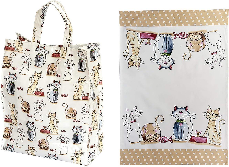 Juego de 2, a Juego Paño de Cocina y Bolsa de la Compra Reutilizable, con Diseño Bonito de Gato, regalo para los Amantes de los Gatos