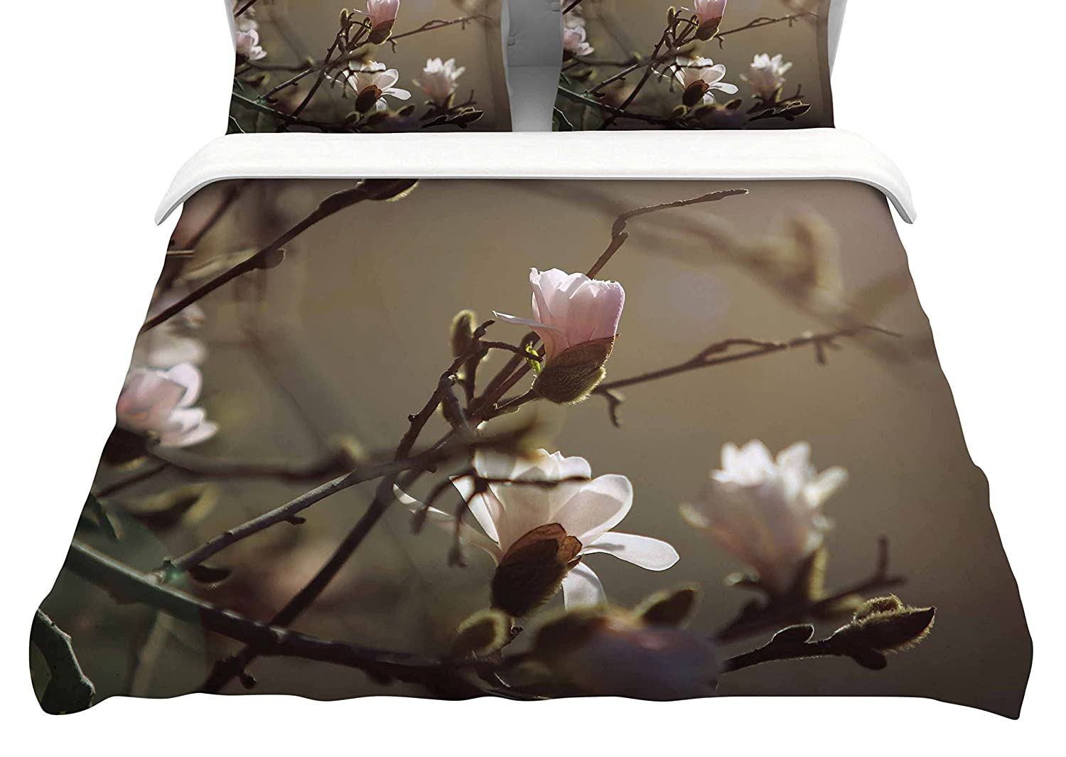88-Inch Kess InHouse Angie Turner Magnolia Blooms Pink White Queen Cotton Duvet Cover