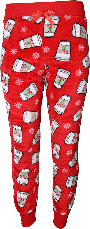 em /& alfie Womens Christmas Super Fuzzy Plush Jogger Pajama Pants