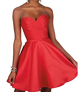 Short Bridemaid Dress A line Satin Party Dress Sweetheart Sleeveless Homecoming Dress for Juniors