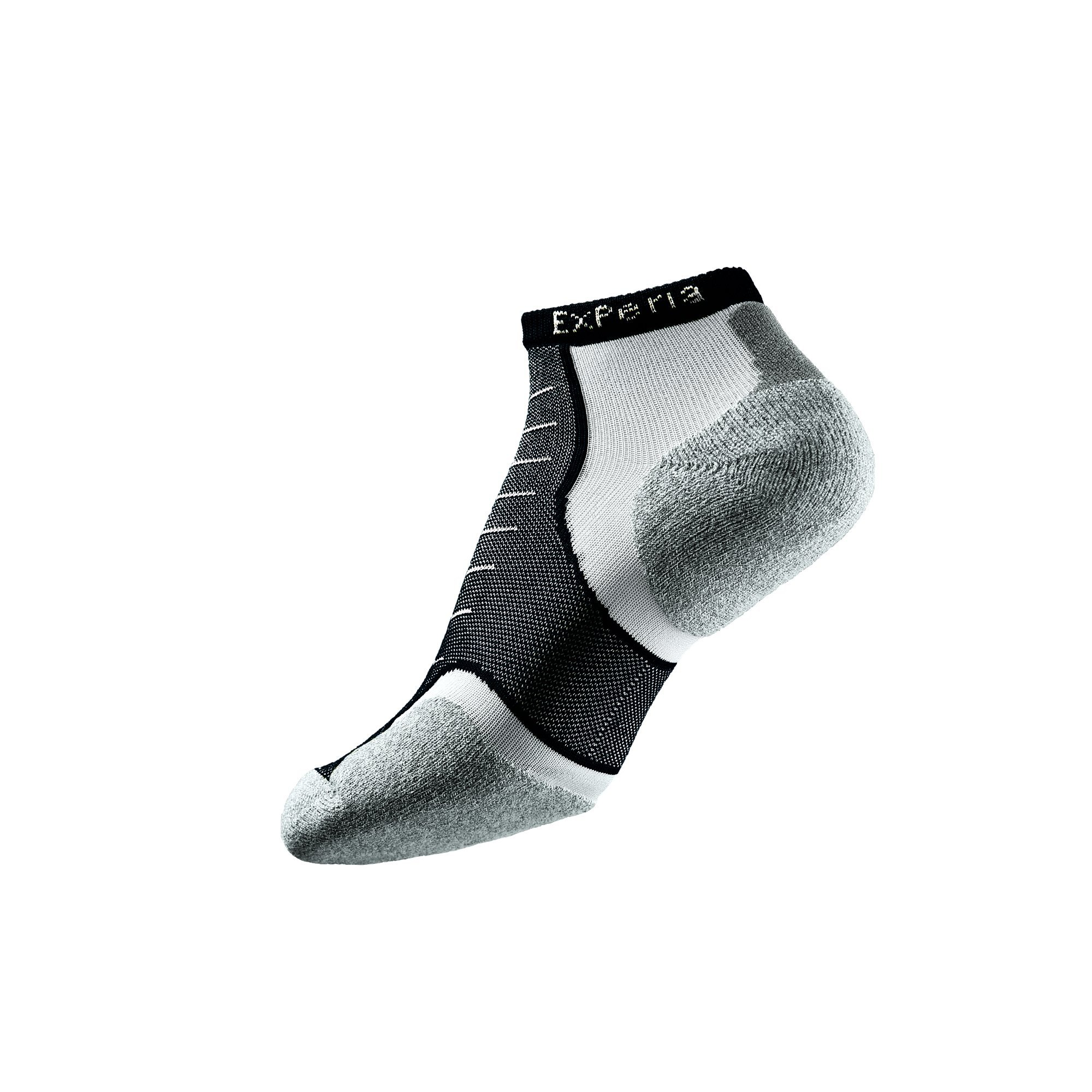 Thorlos Experia XCCU Thin Cushion Running Low Cut Sock, Black On White, L by Thorlos Experia