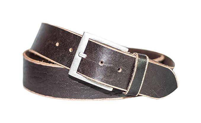 519d156f9f0d Eg-Fashion Herren Jeansgürtel 5 cm Breite 100% Büffelleder stylische  Schnalle im Used Look