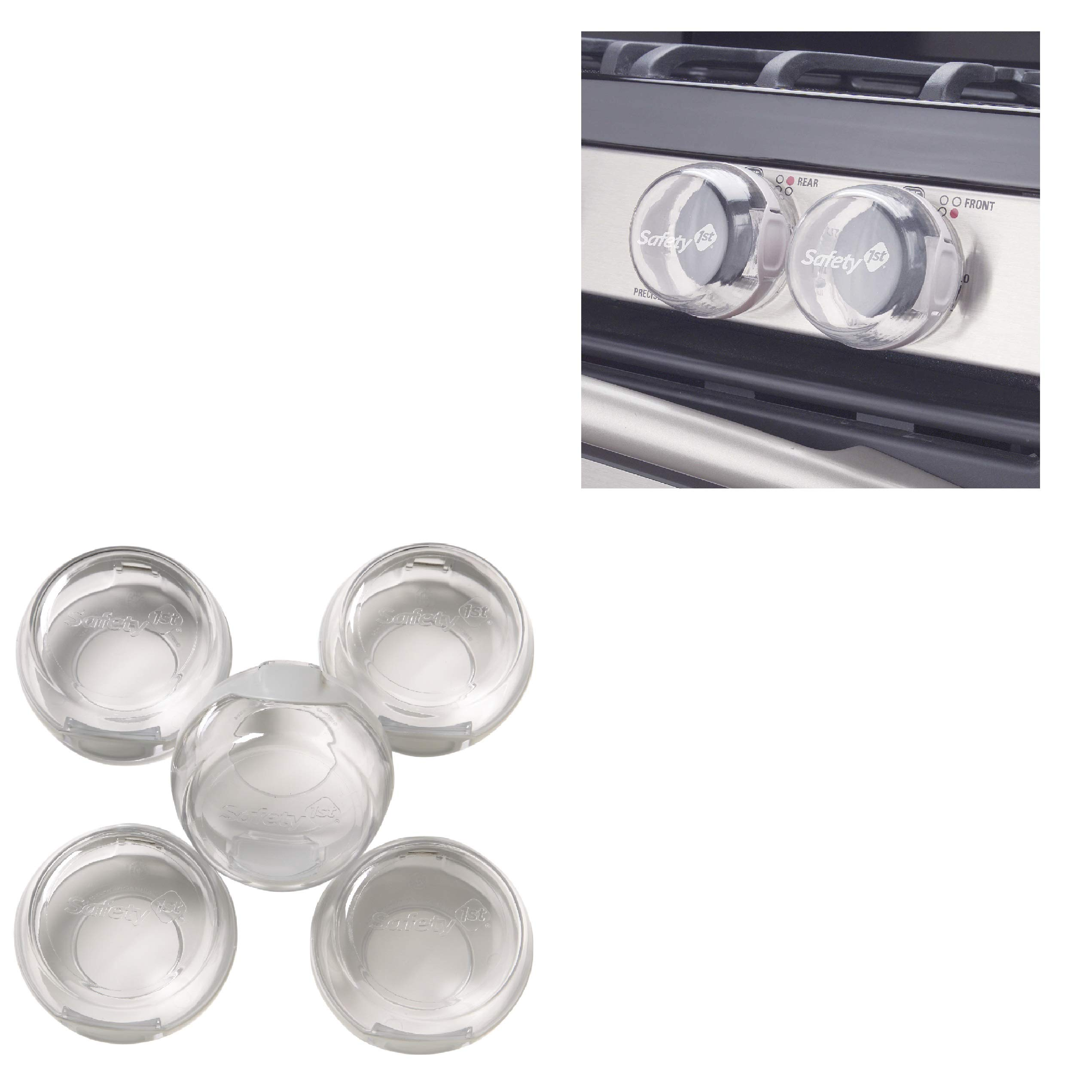Safety Knob Covers 1st 5 Pack Clear View Stove Knob Hinged Covers Child Proof - Oven Handle Covers - Stove knob Covers for Child Safety - Stove knob Covers - Child Safety Door knob Covers.