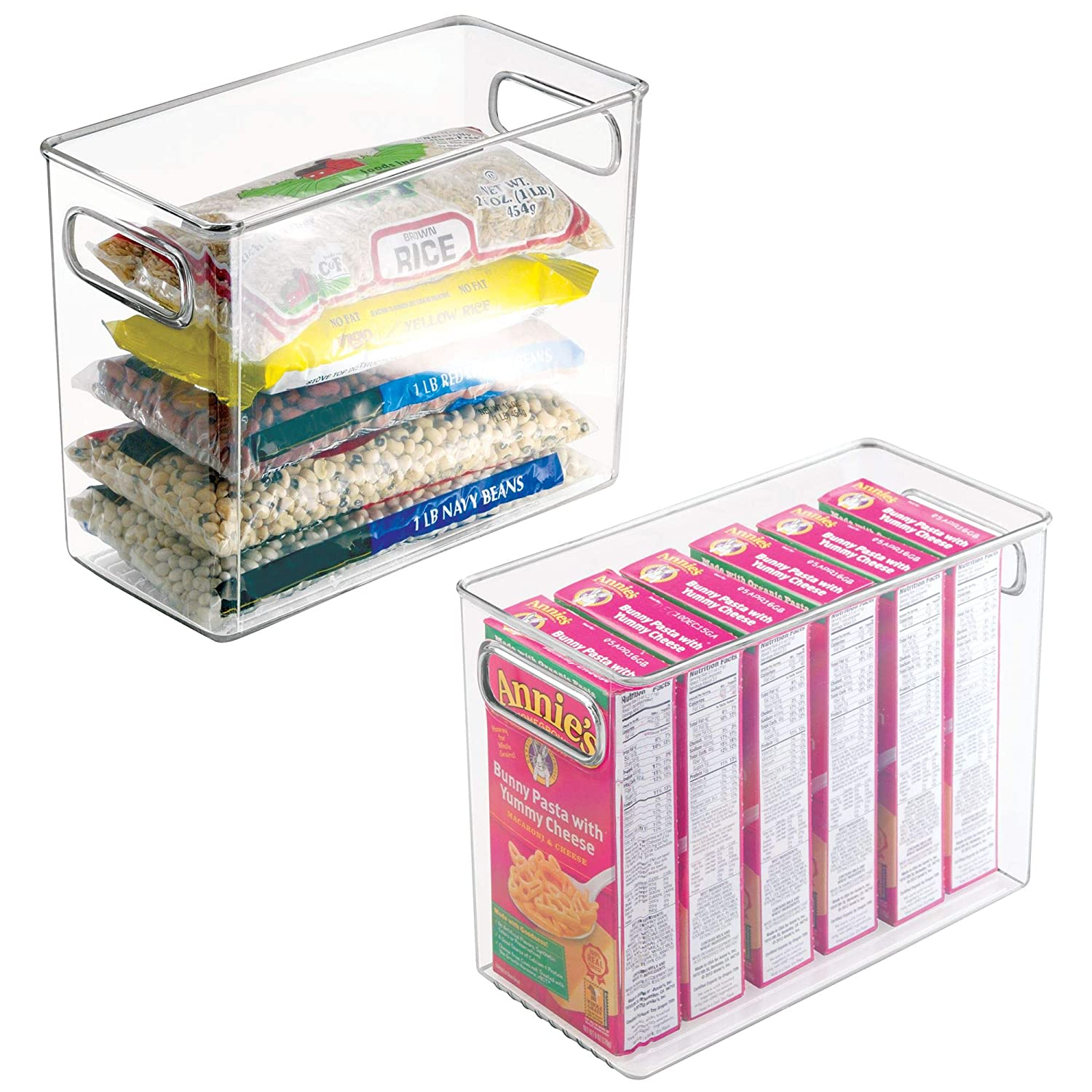 "Plastic Kitchen Pantry Cabinet, Refrigerator or Freezer Food Storage Bins with Handles - Organizer for Fruit, Yogurt, Snacks, Pasta - Food Safe, BPA Free, 2 Pack, 10"" Long - Clear"